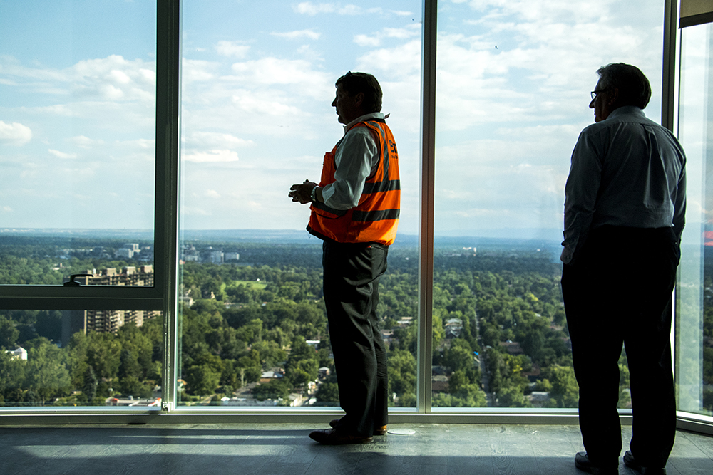 Brow Real Estate Group Vice President Walter Armer gives a tour of the newly-completed Country Club Towers to the Denver Architectural Foundation, Aug. 16, 2017. (Kevin J. Beaty/Denverite)  country club towers; residential real estate; apartment building; denver; colorado; denverite; kevinjbeaty; denver architectural foundation;