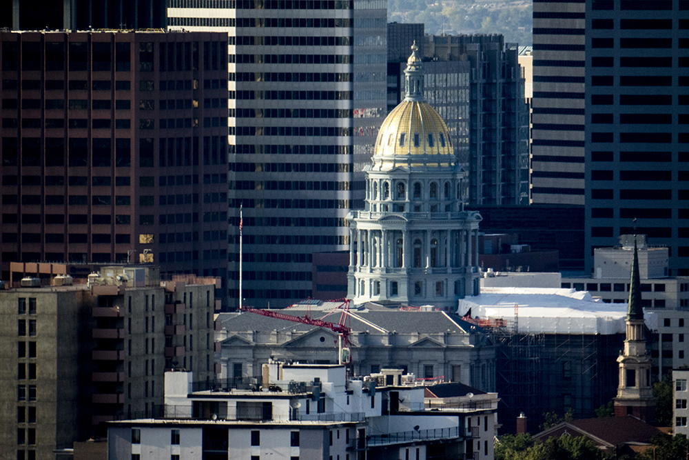 Looking north toward the Capitol from the top floor of the newly-completed Country Club Towers, Aug. 16, 2017. (Kevin J. Beaty/Denverite)