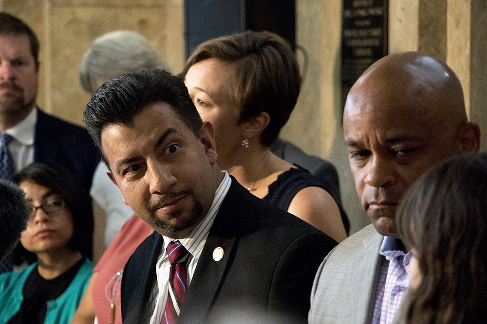City council member Paul Lopez at a press conference on actions that will limit the city's cooperation with federal immigration authorities, Aug. 16, 2017. (Kevin J. Beaty/Denverite)  denver; colorado; denverite; kevinjbeaty; immigration; sanctuary city; city council; city and county building