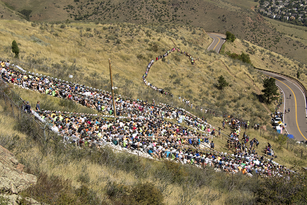 The Colorado School of Mines freshman sit on the giant M on Lookout Mountain after their initiation climb, Aug. 20, 2017. (Kevin J. Beaty/Denverite)  colorado school of mines; golden; lookout mountain; m climb; denverite; colorado; kevinjbeaty;