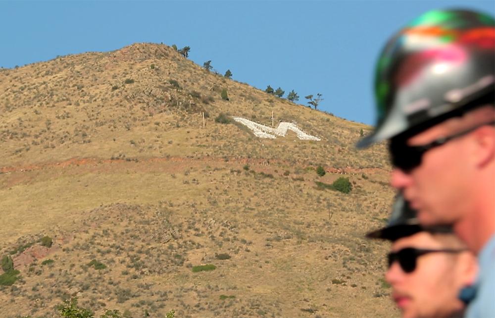 The Colorado School of Mines M on Lookout Mountain, Aug. 20, 2017. (Kevin J. Beaty/Denverite)  colorado school of mines; golden; lookout mountain; m climb; denverite; colorado; kevinjbeaty;