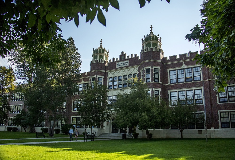 Smiley Middle School, now home to McAuliffe International School. (Kevin J. Beaty/Denverite)  denver; colorado; high school; denverite; kevinjbeaty;