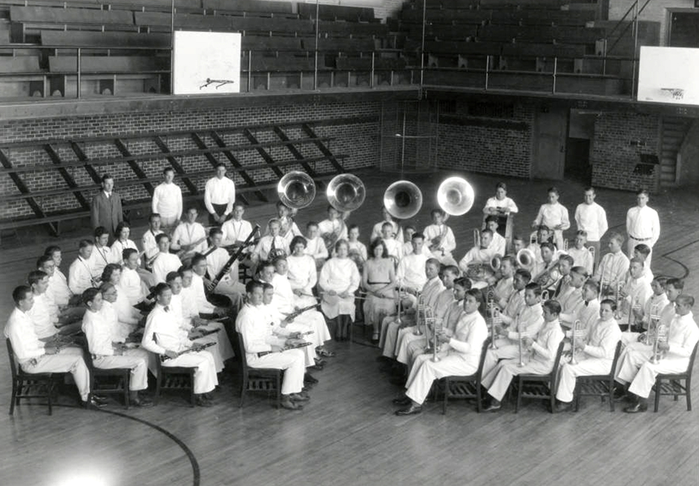 Student members of Denver, Colorado South High School Band pose with their instruments. (Denver Public Library/Western History Collection/WH1990)  high school; denver public library; dpl; archive; history;