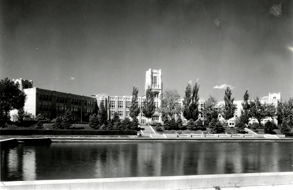 Looking across the Sunken Gardens towards West High School in Denver. (Denver Public Library/Western History Collection/WH1990)  high school; denver public library; dpl; archive; history;