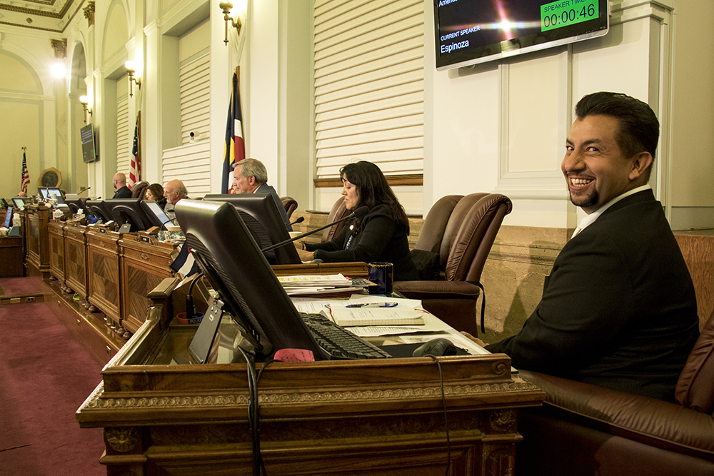 Denver City Councilman Paul Lopez at the end of a hearing on the Public Safety Enforcement Priorities ordinance, Aug. 28, 2017. (Kevin J. Beaty/Denverite)