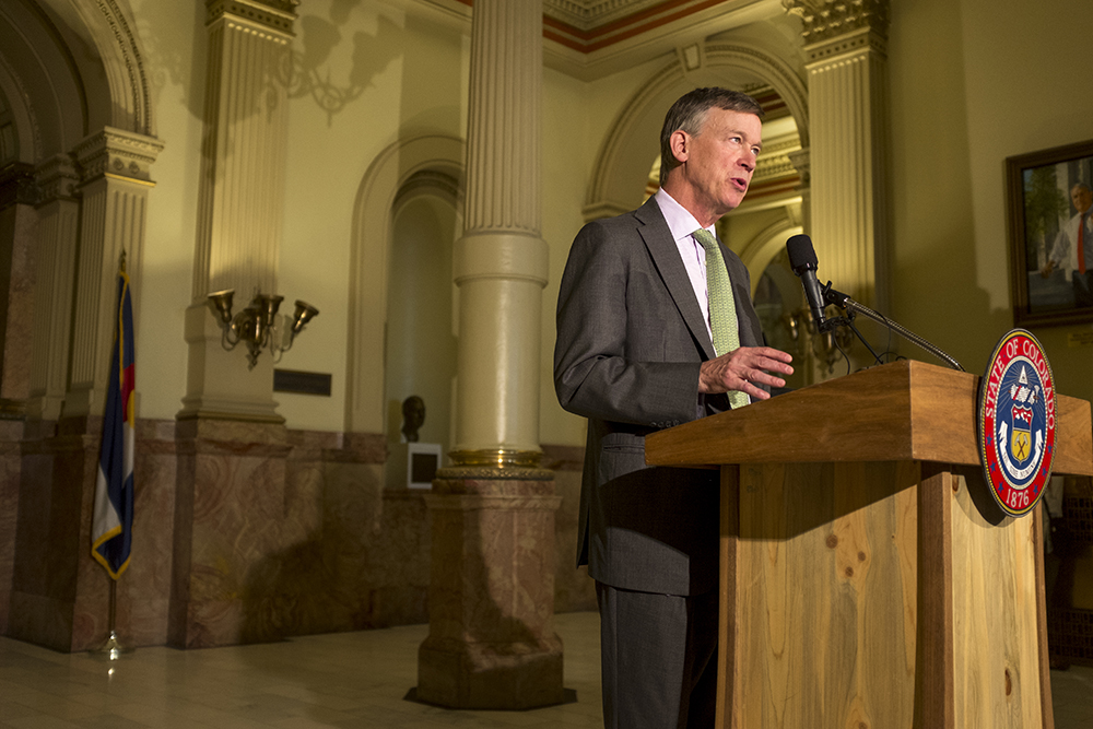 Governor John Hickenlooper speaks at a press conference on heathcare in the Capitol building, Aug. 31, 2017. (Kevin J. Beaty/Denverite)  capitol; governor john hickenlooper; kevinjbeaty; denver; colorado; denverite