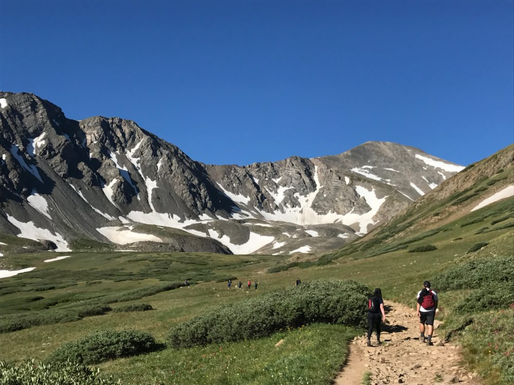 Starting out on the Grays Peak Trail, with Grays visible on the right. (Ashley Dean/Denverite)
