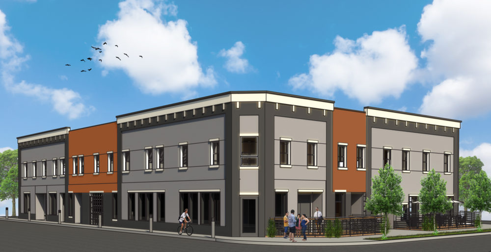 A rendering for the 13 apartments and commercial space planned for 300 South Logan. (Courtesy of Wein Development)
