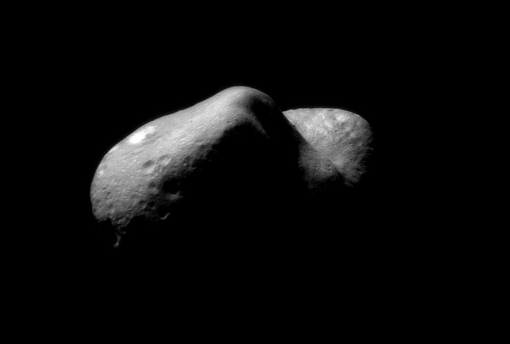 A composite of photographs of Eros, an asteroid, captured in 2001. (NASA)