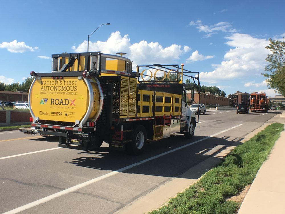 An autonomous impact-protection vehicle being tested by CDOT. (Courtesy CDOT, CIG)