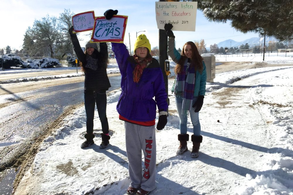 Seniors at Fairview High School in Boulder protested a standardized test in November 2014. (Photo by Nic Garcia/Chalkbeat)