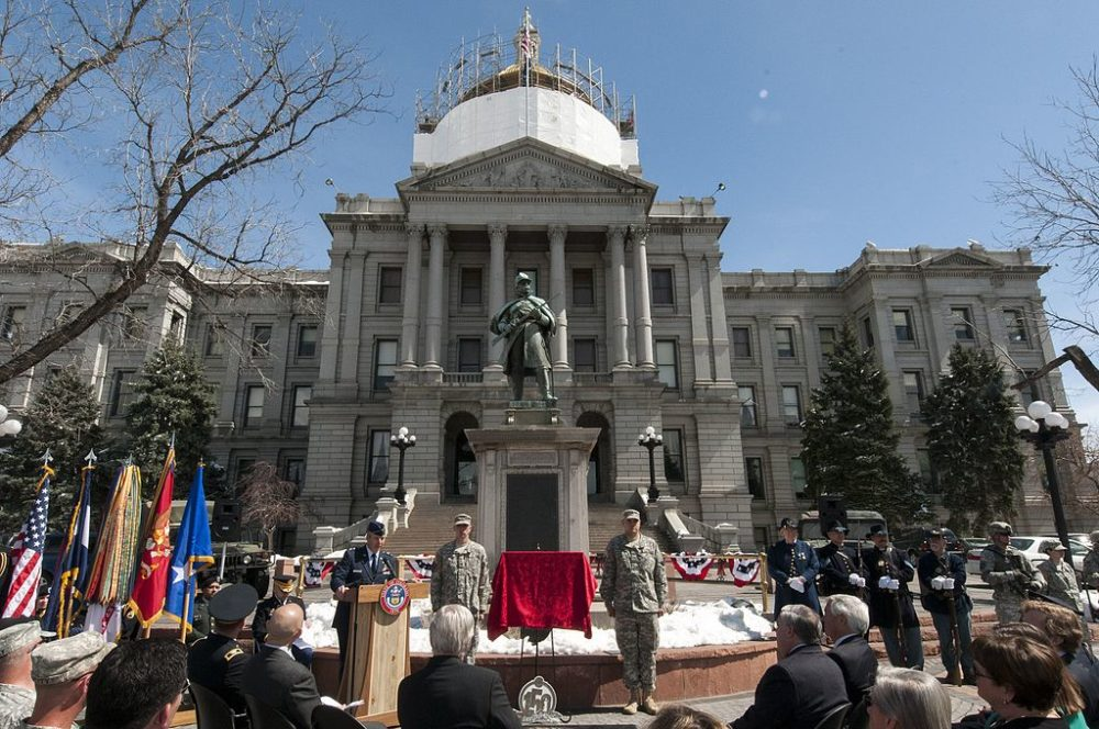 "A statue of a Union soldier near the Colorado State Capitol once praised the ""Battle of Sand Creek."" In fact, it was a massacre. (Wolfram Stumpf/Wikimedia Commons)  capitol building; gold dome;"