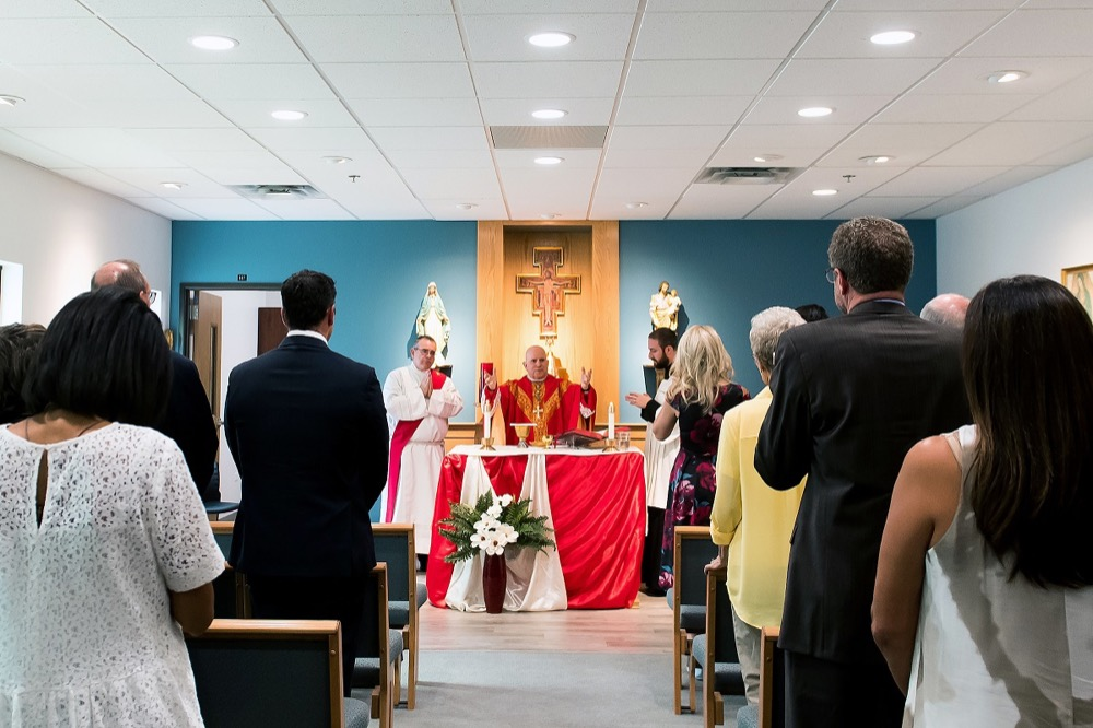 Denver Archbishop Samuel J. Aquila celebrates Mass in the Samaritan House Women's Shelter chapel during the grand opening event on August 24, 2017, in Denver, Colorado. (Photo courtesyThe Catholic Alliance)