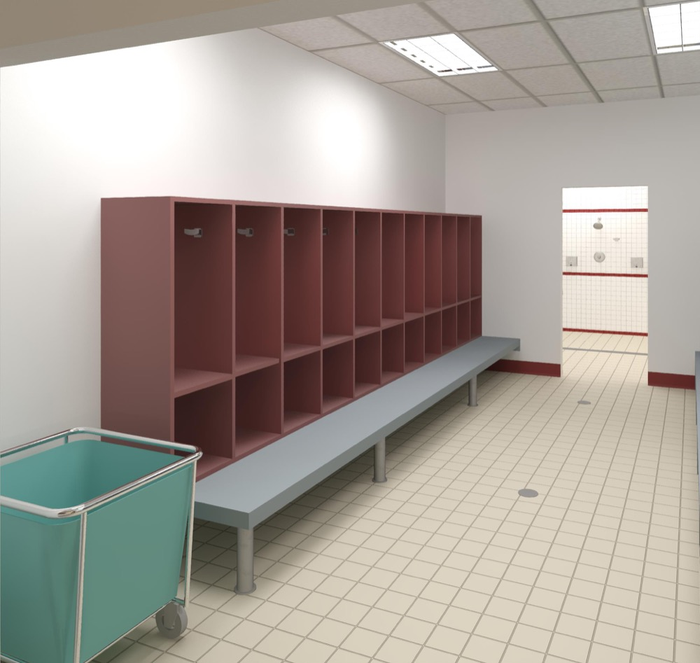 A rendering of a changing room at a new Denver Rescue Mission shelter. (Courtesy Denver Rescue Mission)
