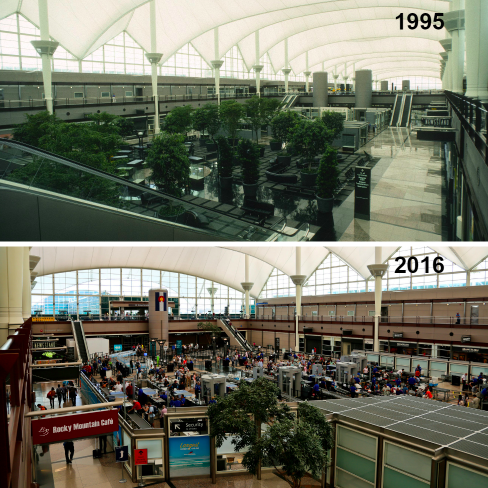 When DIA opened in 1995, the Great Hall was envisioned as a much more pleasant place. Post 9/11-security requirements made it the site of a stressful screening checkpoint. (Courtesy DIA) airport; Denver International Airport; DIA