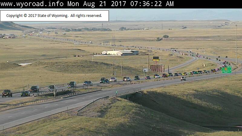 Interstate 25 just inside Wyoming's southern border at 7:30 a.m. on Aug. 21. (WYDOT)