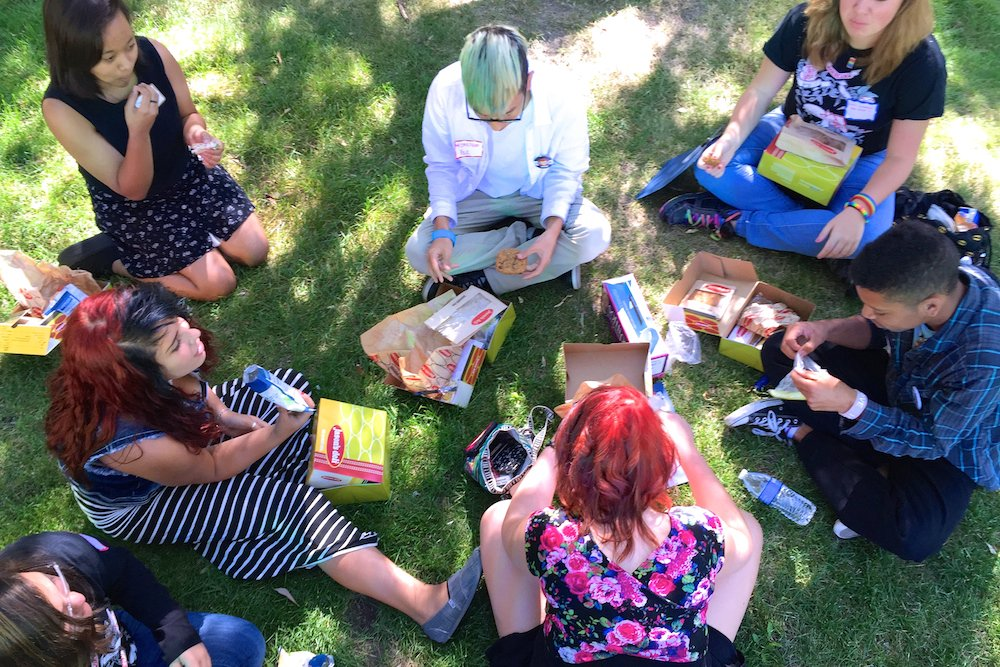 Students from Aurora's Rangeview High School ate lunch during a break at a weekend gathering of lesbian, gay, bisexual, transgender, and straight youth. The annual event hosted by LGBT advocacy organization One Colorado focused on student leadership. (Nic Garcia/Chalkbeat)