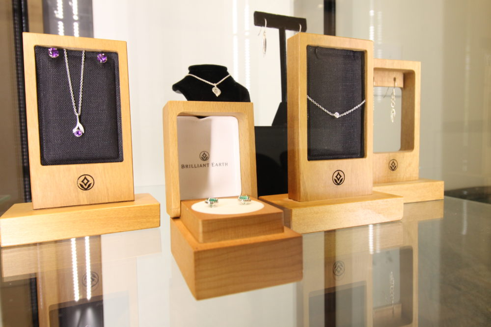 Jewelry on display at Brilliant Earth. (Courtesy of Brilliant Earth)