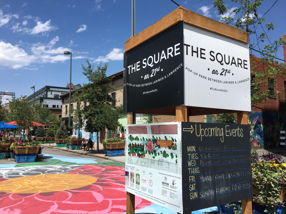 Final events are lined up for the last weeks of the Square on 21st pop-up project. (Andrew Kenney/Denverite)