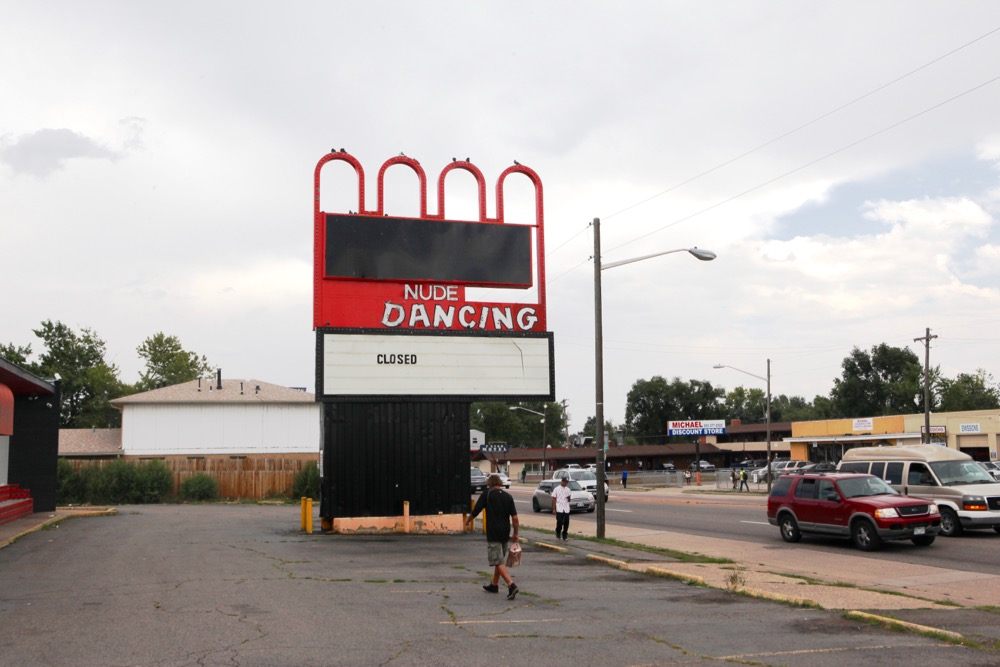 A closed strip club on East Colfax. (Andrew Kenney/Denverite)