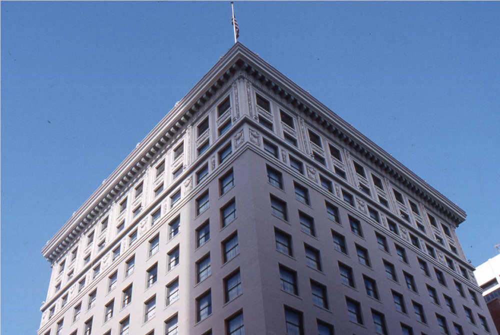Exterior photograph of the First National Bank of Denver building located in Denver in 1995. From its 1911 opening, this building was associated with the development of commerce and banking in Denver. It served until 1958 as the headquarters of the First National Bank of Denver, an organization dating back to 1865. The First National Bank was the first bank to locate on 17th Street and thus represents the beginnings of the thoroughfare's development into the financial center of Denver and the surrounding region. (History Colorado/Denver Public Library/5DV1727OAHP)