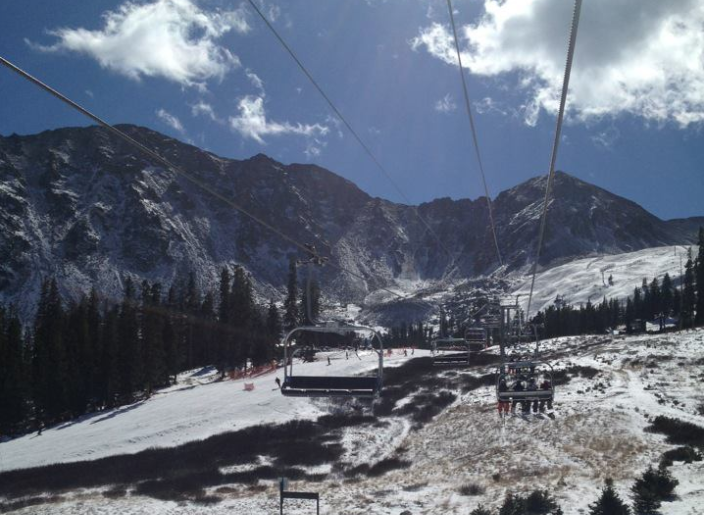 Arapahoe Basin on the first day of the season in 2012. (Ashley Dean/Denverite)