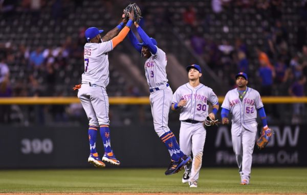 The Mets were down by five runs at one point Wednesday but wound up routing the Rockies 10-5. (Ron Chenoy/USA Today Sports)