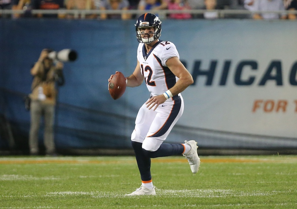 Paxton Lynch completed six passes for 42 yards against the Bears on Thursday. (Dennis Wierzbicki/USA Today Sports)