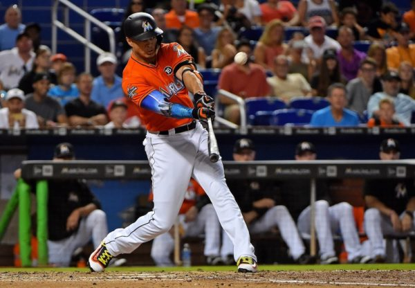 Giancarlo Stanton hit his 42nd home run of the season Sunday. (Jasen Vinlove/USA Today Sports)