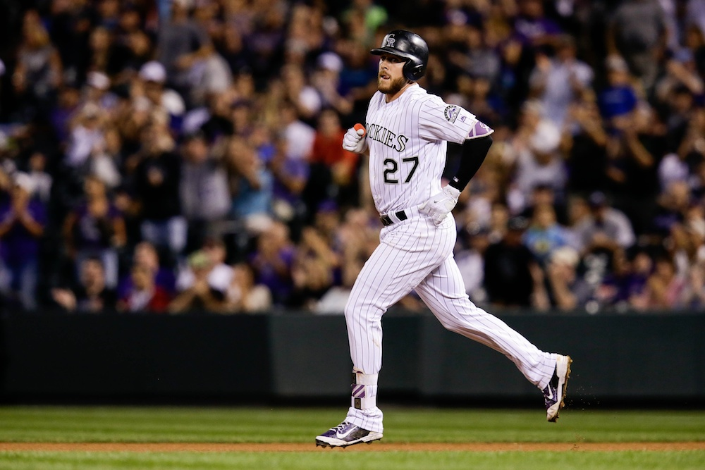 Trevor Story homered twice in the Rockies' 17-2 win over the Braves on Wednesday. (Isaiah J. Downing/USA Today Sports)