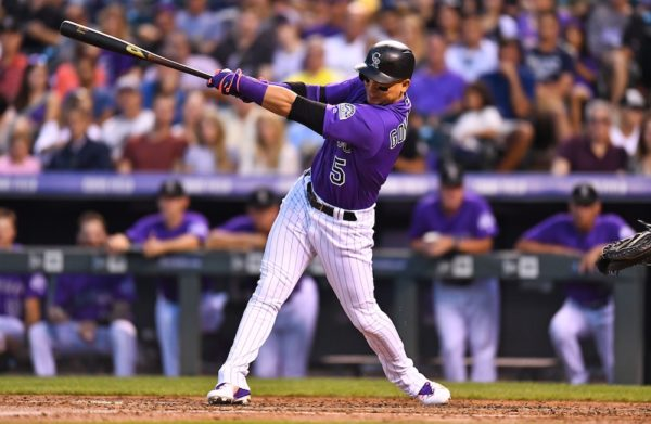 Carlos Gonzalez hit a HR to the opposite field in Colorado's series-opening win. (Ron Chenoy/USA Today Sports)