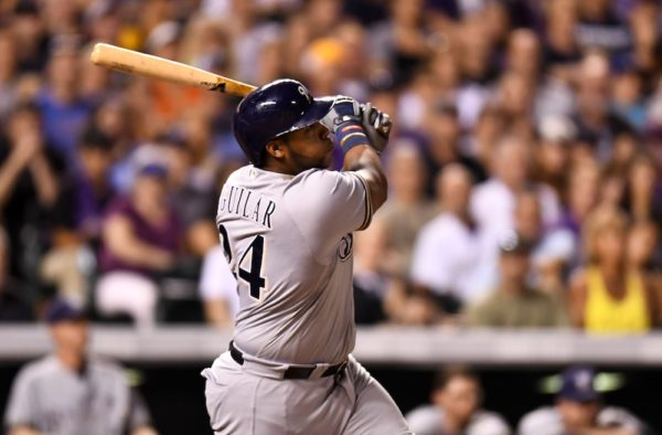 Jesus Aguilar hit a HR off Greg Holland in the ninth Saturday. (Ron Chenoy/USA Today Sports)
