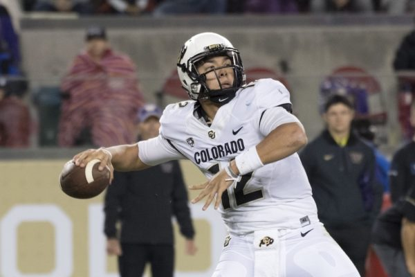 Steven Montez about to throw downfield. (Kyle Terada/USA Today Sports)