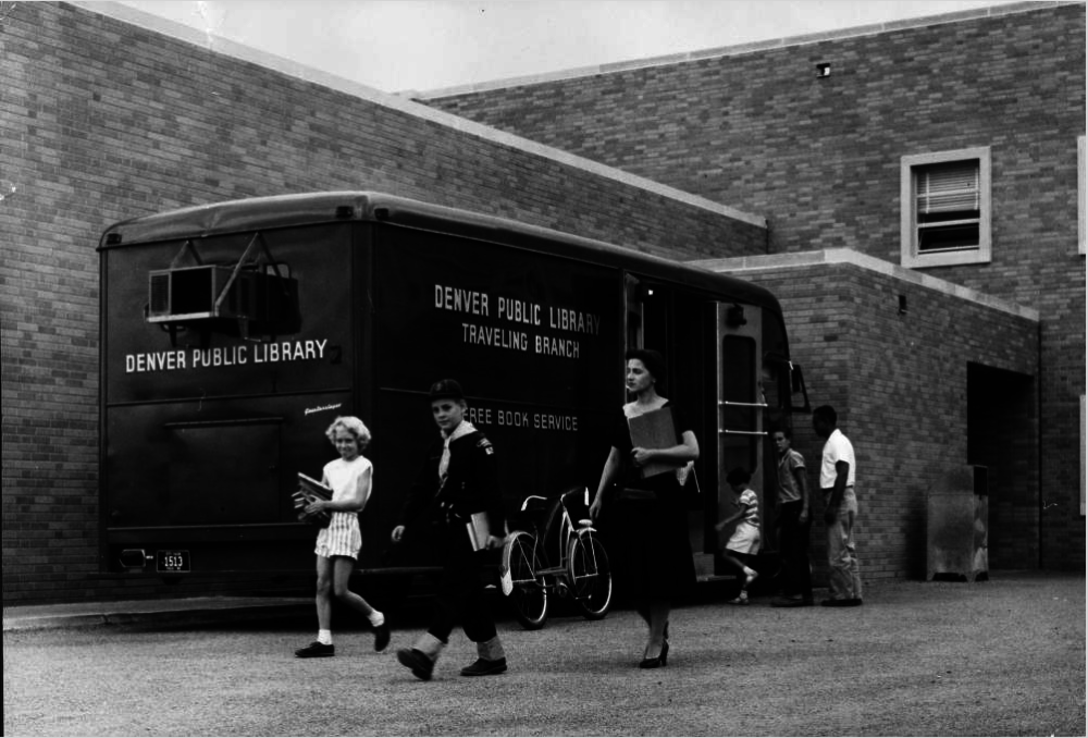 The Denver Public Library bookmobile in 1956. (Western History & Genealogy Dept./Denver Public Library)