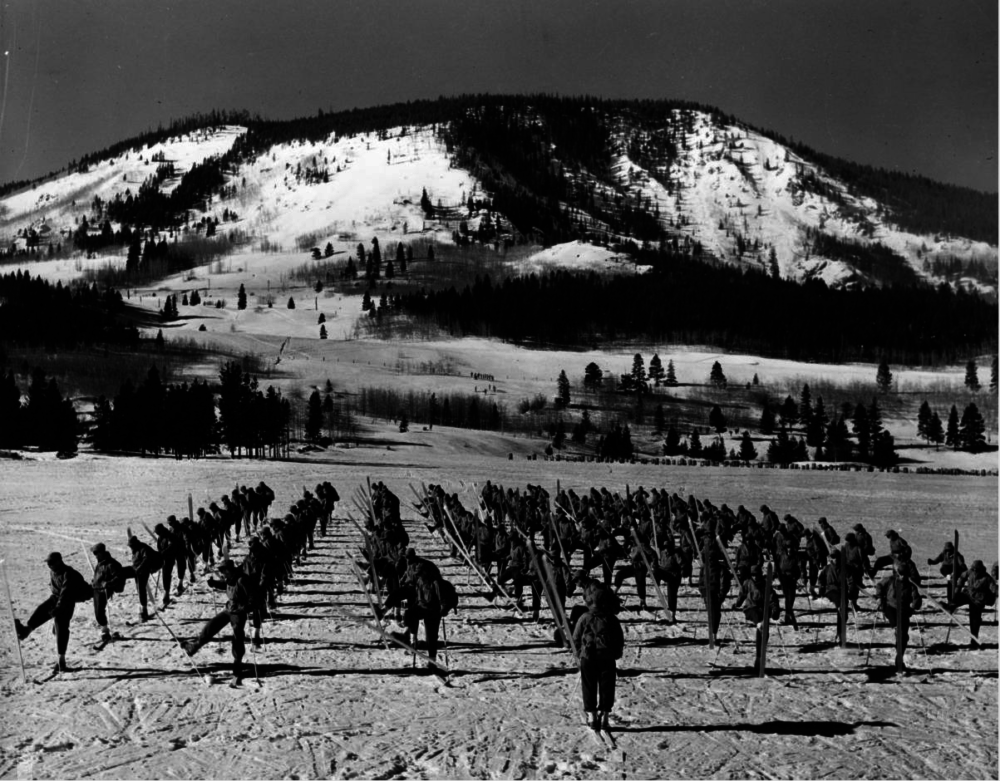 "Soldiers from the Tenth Mountain Division, 87th Mountain Infantry Regiment doing an about-face near Camp Hale in Colorado during filming of ""The Fighting Mountaineers"" in 1943 or '44. (Mac Julian/Western History & Genealogy Dept./Denver Public Library)"