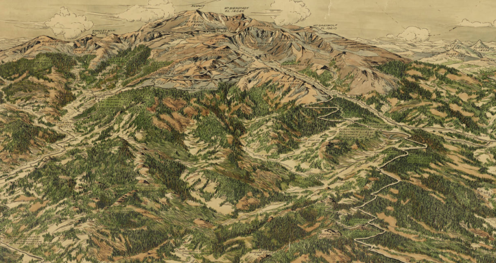 A section of a super-detailed illustrated map of Denver's mountain parks circa 1922, including Mount Evans. (Robert Carlyle Prather/Western History & Genealogy Dept./Denver Public Library)