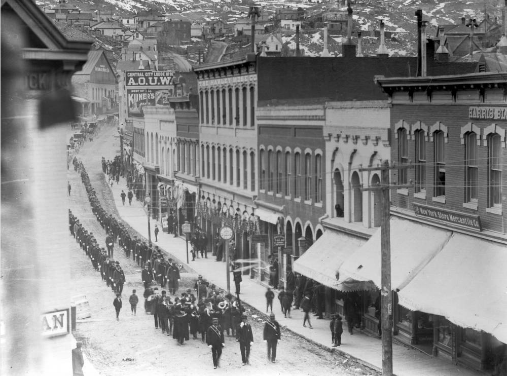 A funeral procession through Central City, likely during the 1890 and possibly for Sheriff R.B. Williams, who was shot by a quartz hauler. (Donald Campbell Kemp/Western History & Genealogy Dept./Denver Public Library/K-283)