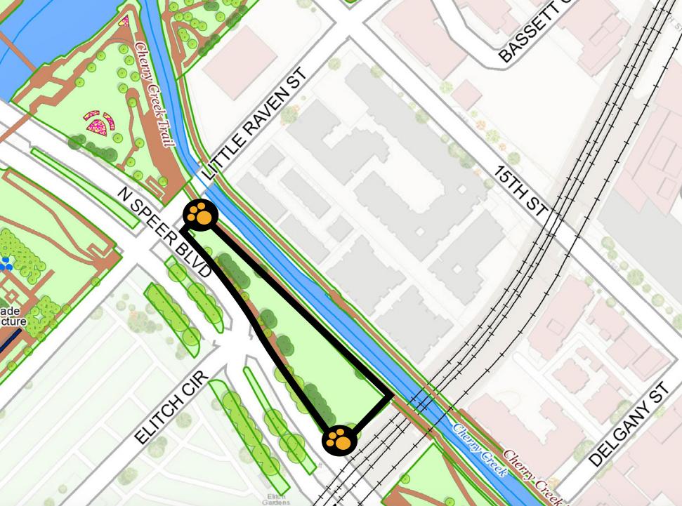 A temporary off-leash dog area planned for Speer Boulevard Park. (City of Denver)
