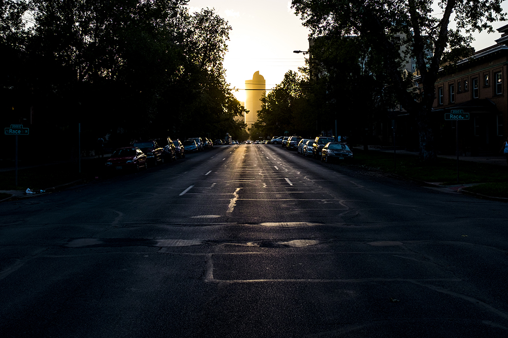 Sunset over City Park West, Sept. 19, 2017. (Kevin J. Beaty/Denverite)  denver; denverite; colorado; kevinjbeaty; cityscape; cowx; sunset; skyline; weather; evening;