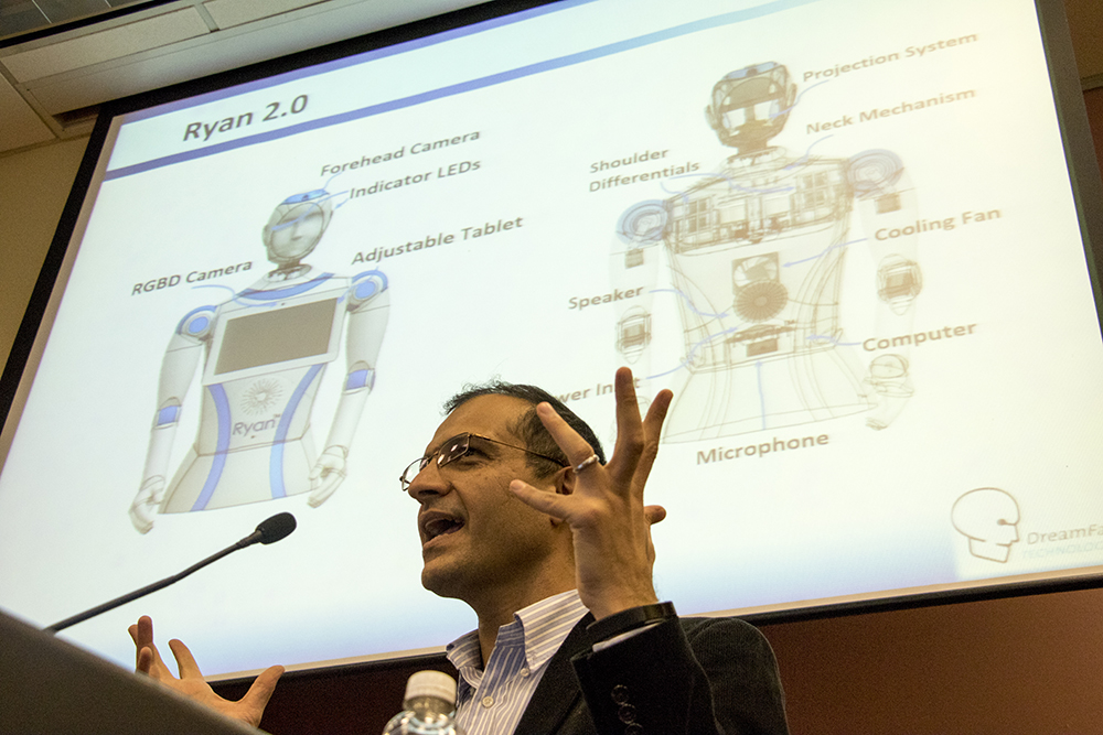 Dr. Mohammad Mahoor demonstrates Ryan to the Denver Regional Council of Governments, Sept. 21, 2017. (Kevin J. Beaty/Denverite)  denver; colorado; drcog; aging; eldercare; robotics; futurism; kevinjbeaty; denverite;