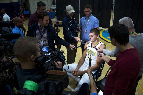 Nikola Jokic speaks to press. Denver Nuggets media day, Sept. 25, 2017. (Kevin J. Beaty/Denverite)  nuggets; basketball; sports; pepsi center; denver; denverite; kevinjbeaty; colorado;