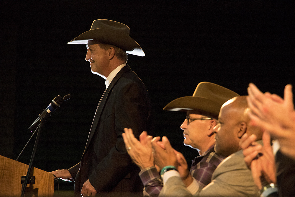 National Western Stock Show President and CEO Paul Andrews speaks at a National Western Center Framework Agreement Signing Ceremony, Sept. 28, 2017. (Kevin J. Beaty/Denverite)  national western complex; national western stock show; elyria swansea; denver; colorado; denverite; kevinjbeaty;