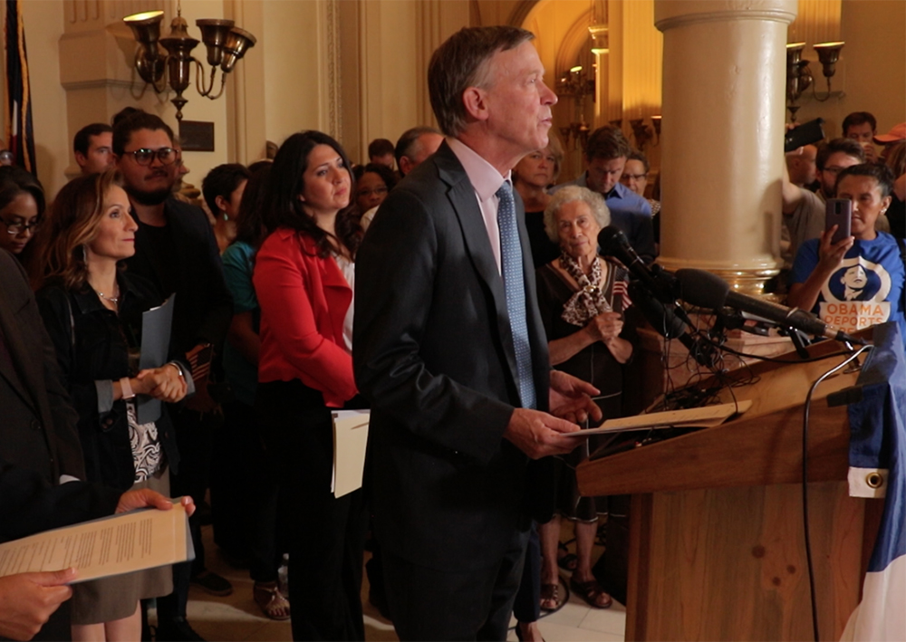 Governor John Hickenlooper speaks at a press conference on the possible repeal of Deferred Action for Childhood Arrivals, known as DACA, Sept. 1, 2017. (Kevin J. Beaty/Denverite)  denver; colorado; undocumented; daca; dream act; immigration; kevinjbeaty; denverite;