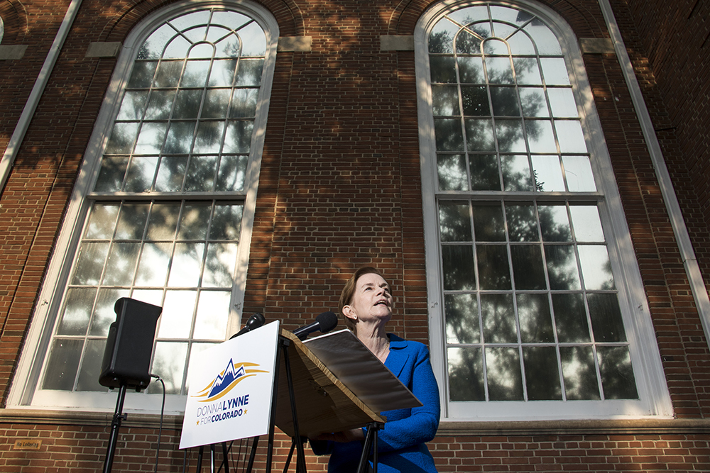 Lieutenant Governor Donna Lynne announces her run for the Governor's seat outside of the First Baptist Church on Capitol Hill. (Kevin J. Beaty/Denverite)  donna lynne; copolitics; governors race; election; politics; denver; denverite; colorado; kevinjbeaty