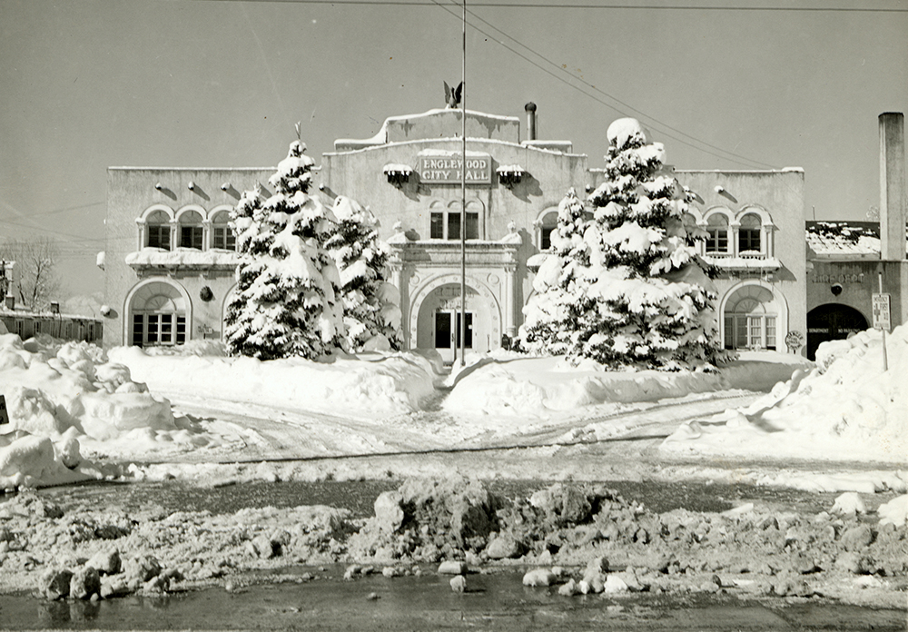 The old Englewood town hall under a 1946 snowstorm. (Englewood Public Library)  englewood; historic; archive;