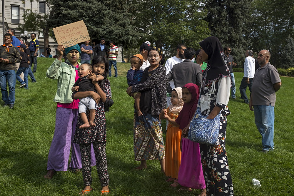 "A rally for Rohingyas, Myanmar's Muslim minority, who have supporters in the U.S. while a so-called ""genocide"" is happening to those still in east Asia. Sept. 10, 2017. (Kevin J. Beaty)  denver; colorado; denverite; kevinjbeaty; protest; rally; myanmar; burma; rohingya;"