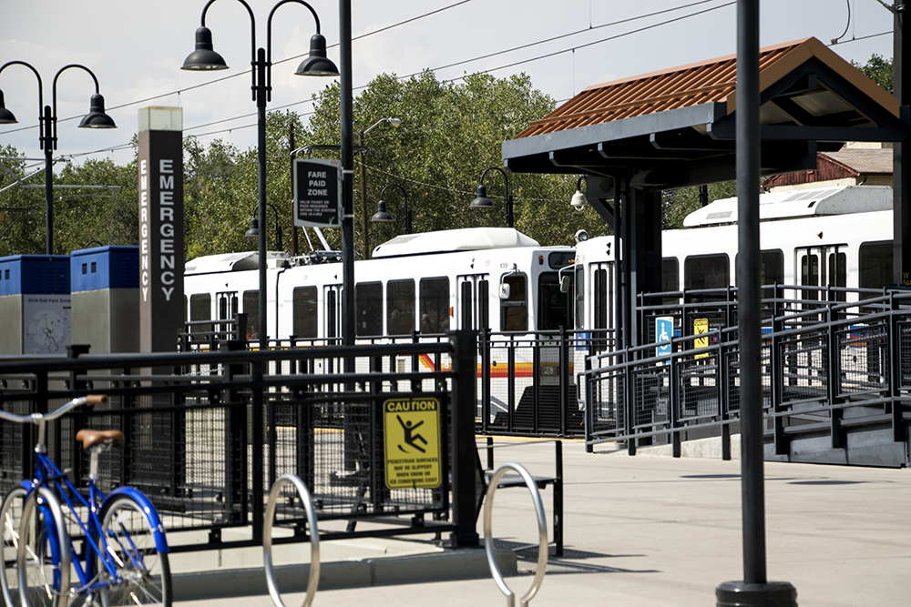 An RTD train stopped at the Perry Street W Line station, Sept. 11, 2017. (Kevin J. Beaty/Denverite)
