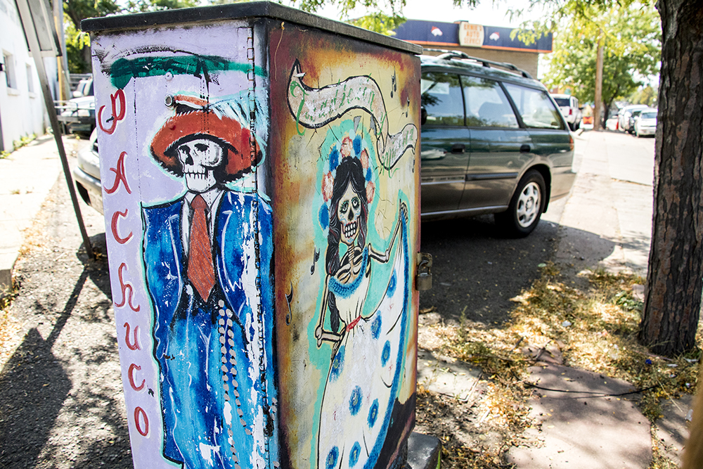A painted utility box in Westwood by Jose Mares, Sept. 11, 2017. (Kevin J. Beaty/Denverite)  kevinjbeaty; denver; denverite; colorado; morrison road; westwood; public art; mural;