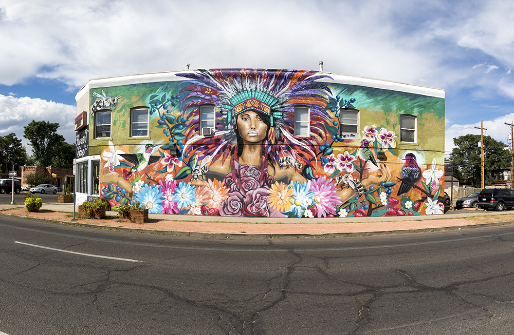 A mural by Bimmer Torrez on the side of Bella Calla Flower Shop in Whittier. (Kevin J. Beaty/Denverite)  denver; colorado; denverite; kevinjbeaty; mural; public art; whittier;