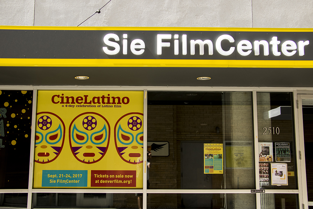 An advertisement for CineLatino at the Sie FilmCenter, Sept. 14, 2017. (Kevin J. Beaty/Denverite)  denver; colorado; denverite; kevinjbeaty; sie filmcenter; theater; movies; cinema;